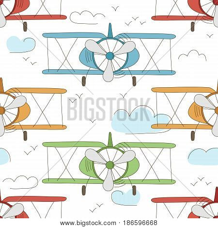 Hand drawn vector vintage seamless pattern with cute little planes in sky with clouds. Adventure dream background. Childish illustration. Kid wallpaper