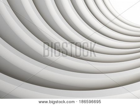 Architectural vector 3d background. Modern white concrete arched composition in perspective. Semicircular shapes. The light in the end.