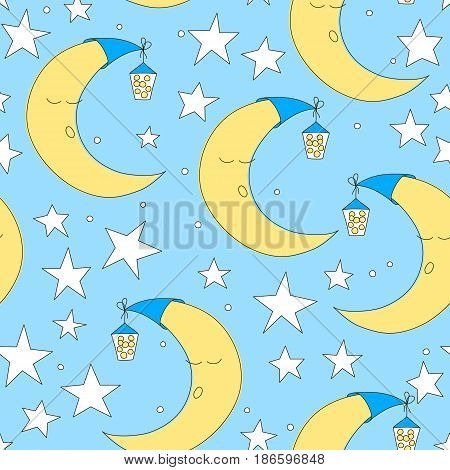 Seamless moon and star pattern vector illustration. Cute baby wallpaper for nursery or clothes. Good night background. Hand drawn texture