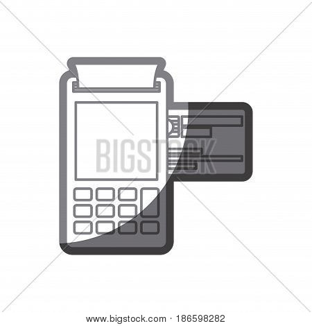 grayscale silhouette of payment terminal with credit card vector illustration