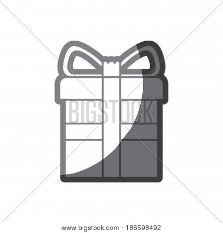grayscale silhouette of gift box with decorative ribbon in cross vector illustration