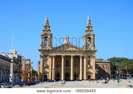 FLORIANA, MALTA - MARCH 30, 2017 - View of St Publius church Floriana Malta Europe, March 30, 2017.