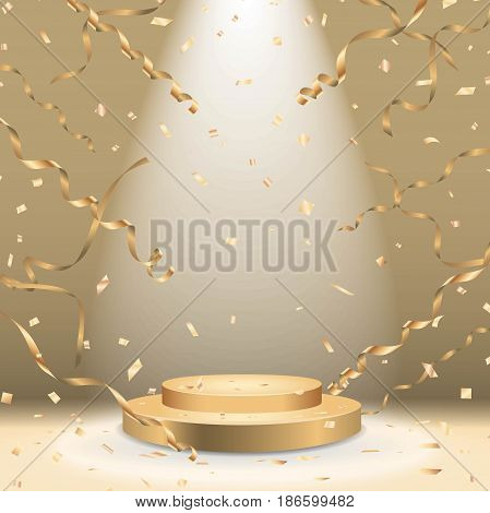 Golden podium with spotlight and confetti Vector