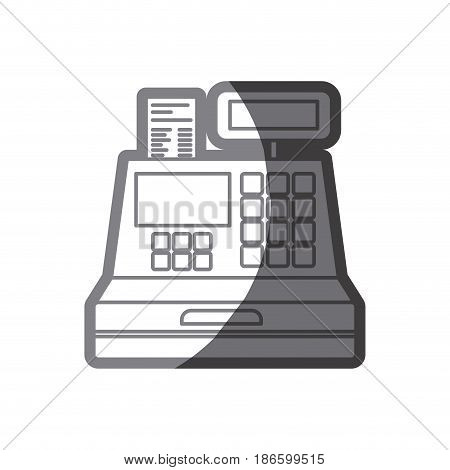 grayscale silhouette of cash register vector illustration