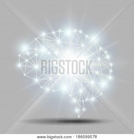 Glowing brain polygon with shiny light burst Vector