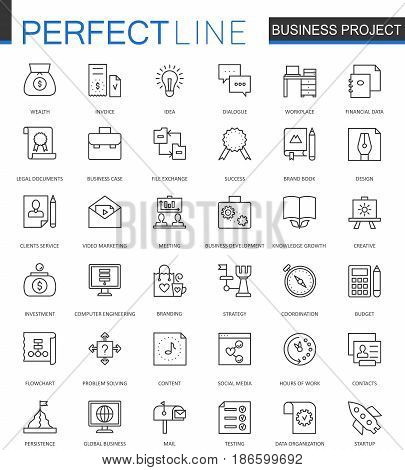 Business project thin line web icons set. Strategy management Outline stroke icon design