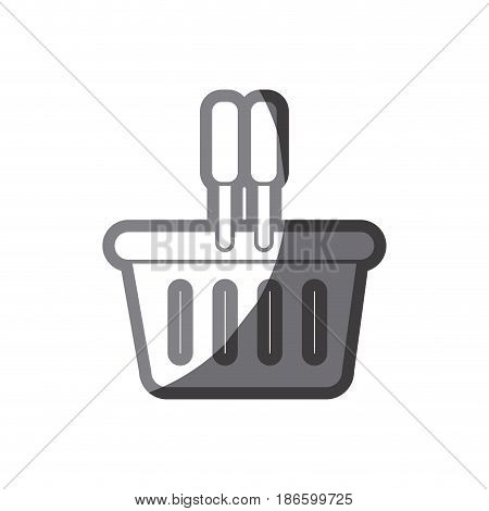 grayscale silhouette of plastic shopping basket vector illustration