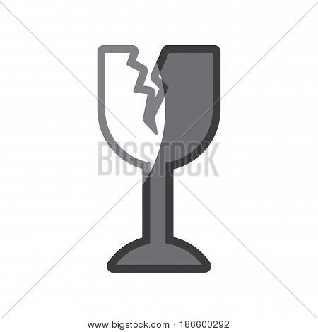 grayscale silhouette of fragile packaging symbol broken wine glass vector illustration