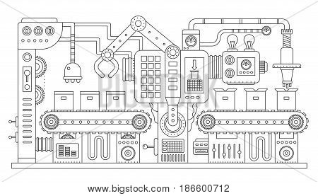 Industrial conveyor belt line outline vector illustration. Conveyor process abstract machine production. Strike line style