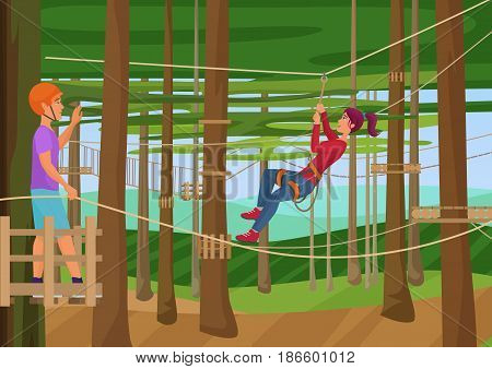 Vector illustration of the people training hiking on the ropes between trees. Rope park