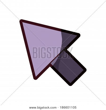 white background with purple arrowhead and thick contour vector illustration
