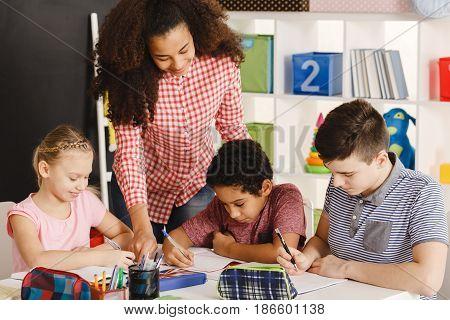 Class Working With Teacher