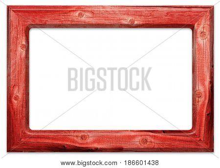 Red old wooden frame