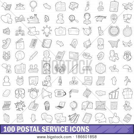 100 postal service icons set in outline style for any design vector illustration
