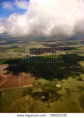 Aerial View Of Crops And Farmland In Amarillo