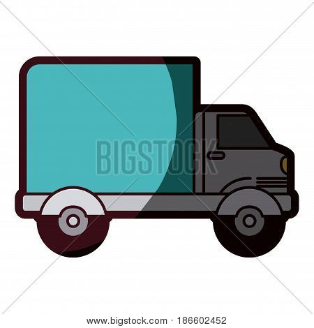 white background with truck with wagon and thick contour vector illustration