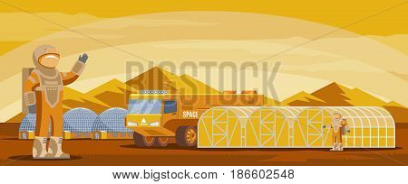Mars colonization futuristic template with astronauts cosmic truck research and living buildings on mountain landscape vector illustration