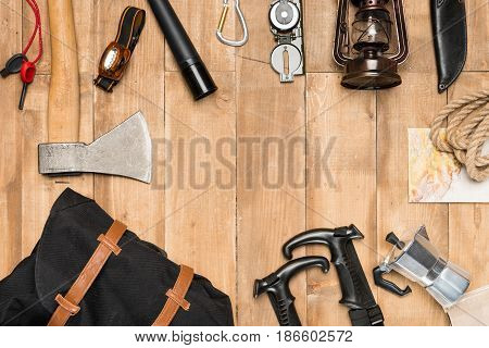 Traveler Set On Wooden Background, Flat Lay