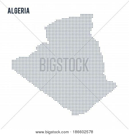 Vector dotted map of Algeria isolated on white background . Travel vector illustration