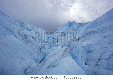 Landscape shot from on top of Perito Moreno glacier in Patagonia, Argentina