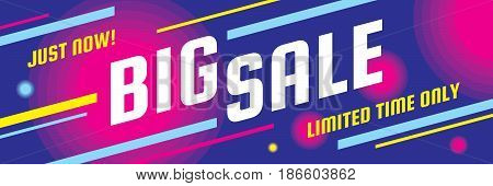Big sale discount - vector layout concept illustration. Abstract horizontal advertising promotion banner. Creative background. Special offer. Graphic design elements.