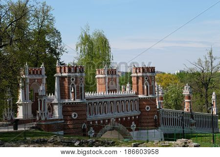The majestic bridge - palace and park ensemble Tsaritsyno park - Moscow, Russia