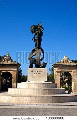View of the Independence Monument Floriana Malta Europe.