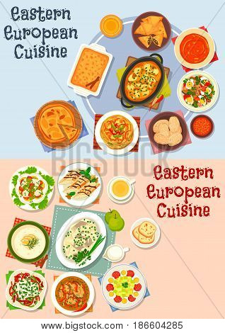 Eastern European cuisine icon set of vegetable salad with egg, sausage, fish, beer and tomato soup, fruit, meat and vegetable pie, potato dumpling, herring in apple sauce, pancake roll and omelette