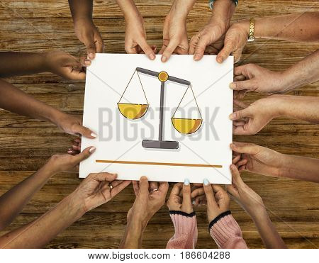 Hands holding banner of justice scale rights and law illustration