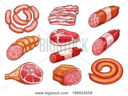 Sausage and meat sketch set. Fresh beef steak, pork sausage, ham, salami, bacon slices, gammon, pepperoni and bologna isolated icon for meat store, butcher shop or farm market food packaging design