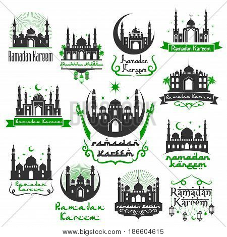 Ramadan Kareem Muslim traditional religious holiday greetings design of mosque with lanterns, crescent moon and twinkling star and Arabic calligraphy. Vector isolated icons set for Ramadan celebration