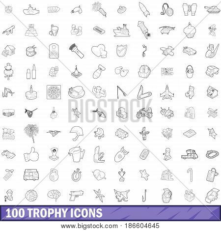 100 trophy icons set in outline style for any design vector illustration