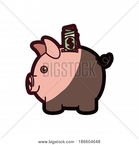 colorful silhouette of moneybox in shape of pig with dollar bill and thick contour vector illustration