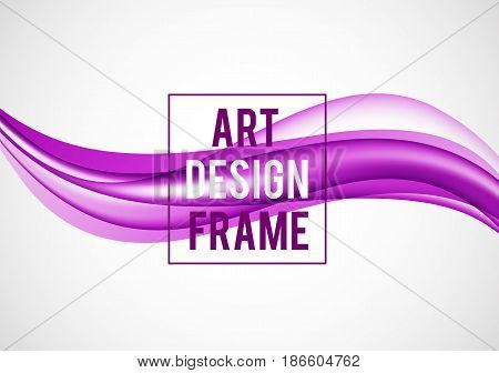 Abstract smooth design template with purple bright wavy lines in dynamic soft style on light background. Vector illustration