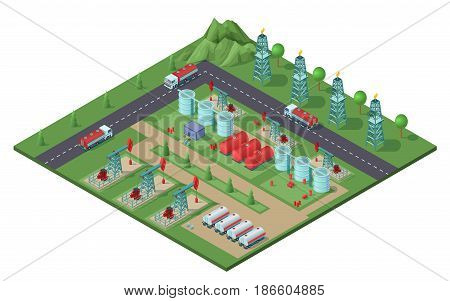 Isometric industrial oil field plant concept with drilling rigs trucks tanks of petroleum electric towers vector illustration
