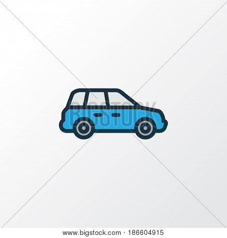 Crossover Colorful Outline Symbol. Premium Quality Isolated Sedan  Element In Trendy Style.