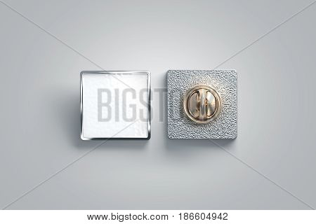 Blank white enamel pin mock up front and back side view 3d rendering. Empty luxury hard lapel badge mockup. Silver clasp-pin design template. Matal square brooch for logo presentation.