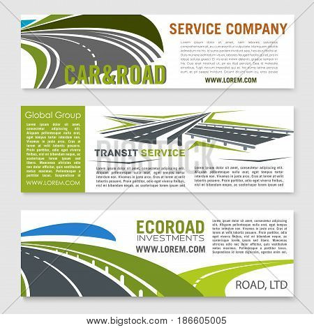 Road and transportation services banner set. Road and highway symbols with rural roadway, speedy asphalt freeway and modern interchange with text layout for building company, travel agency design