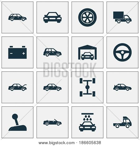 Auto Icons Set. Collection Of Transport Cleaning, Convertible Model, Stick And Other Elements. Also Includes Symbols Such As Station, Car, Auto.