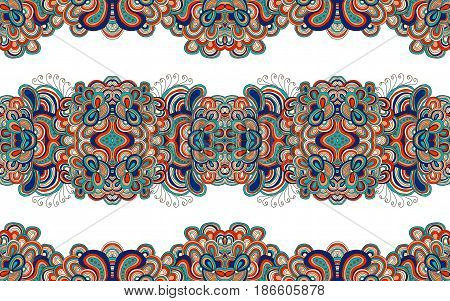 Seamless doodle pattern, raster illustration. Colored in red, blue and white colors tracery.
