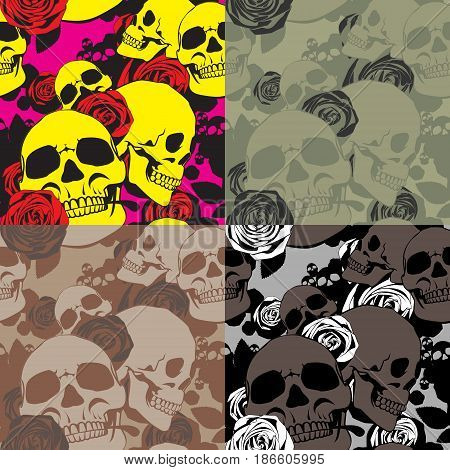 Skulls and roses make up a repeating pattern