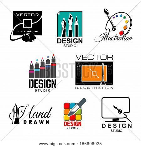 Graphic and web design studio symbol set. Graphic designer tool isolated icon with computer monitor, graphic tablet and digital pen, paint palette, paintbrush, feather pen, color palette and pipette