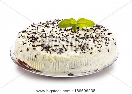 Chocolate cake with icing on white background