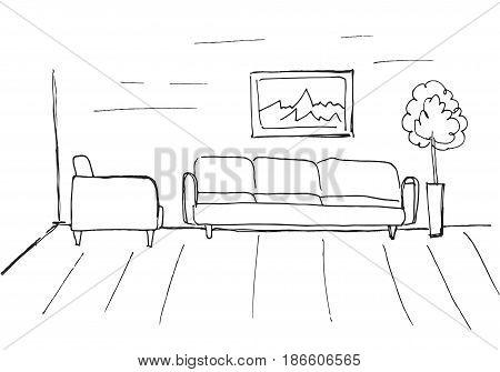 Linear sketch of an interior. Room plan. Vector illustration.