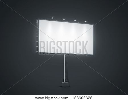Blank white banner mock up on city billboard at night 3d rendering. Empty bill board mockup isolated. Clear light canvas on street sign. Large outdoor poster screen. Big illuminated cityboard signage poster