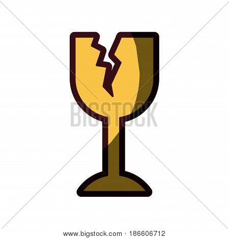 white background with fragile packaging symbol broken wine glass with thick contour vector illustration