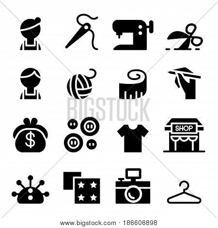 Sewing fashion Tailor Clothing Dressmaker icon set in thin line style poster