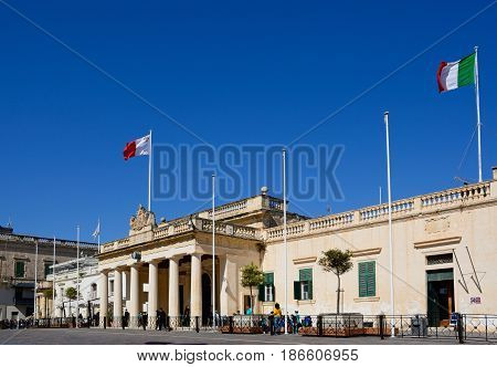 VALLETTA, MALTA - MARCH 30, 2017 - View of the main guard building in St Georges Square Valletta Malta Europe, March 30, 2017.