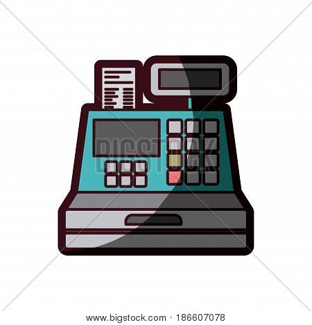 color silhouette with cash register with thick contour vector illustration
