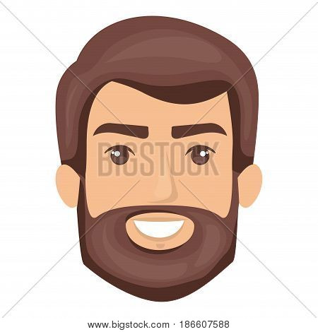 white background of smiling man face with hair and beard dark brown vector illustration